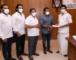 Surya family donates Rs 1 crore to Tamil Nadu CM