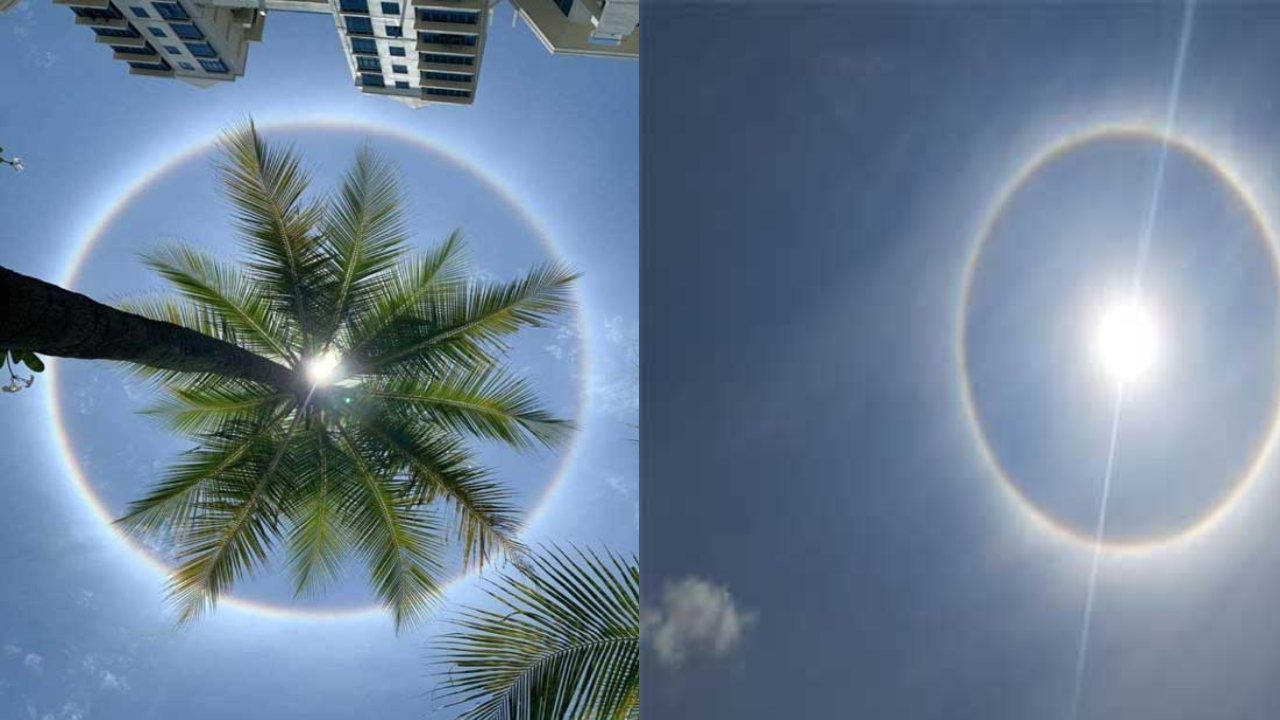 A circle of colors formed in the sky