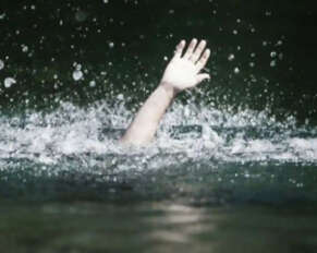 Three children drowned in a pond .. A man also died while trying to save them ..