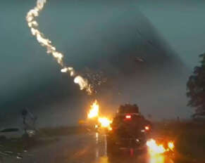 Watch the Exact Moment Lightning Strikes a Car