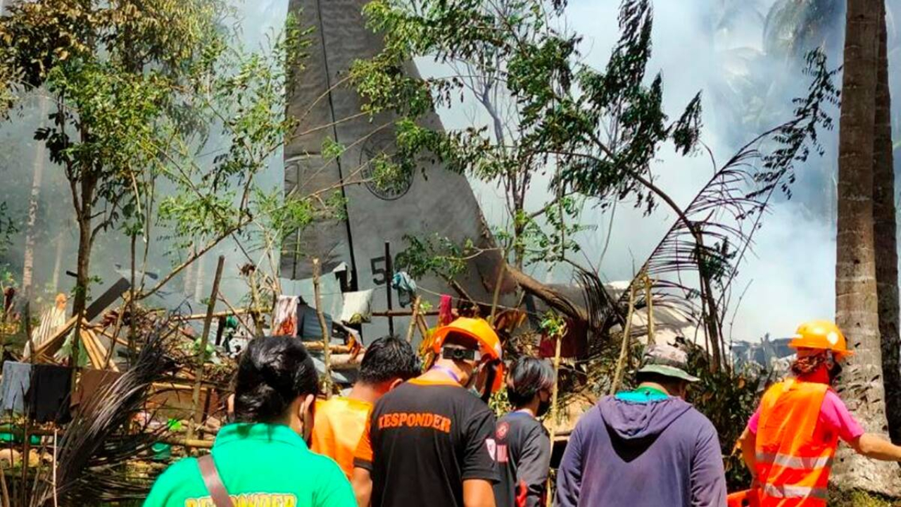 Military plane crashes in the Philippines.
